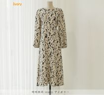 MONICA ROOM Dresses Crew Neck Leopard Patterns Casual Style Flared Long Sleeves 9