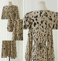MONICA ROOM Dresses Crew Neck Leopard Patterns Casual Style Flared Long Sleeves 10