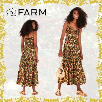 Tropical Patterns Casual Style Maxi Cotton Medium Long