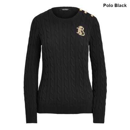 Ralph Lauren Logo Crew Neck Cable Knit Casual Style Long Sleeves Cotton