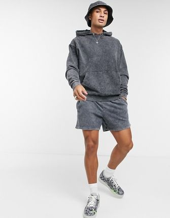 ASOS Asos Design Oversized Tracksuit With Shorts In Acid Wash