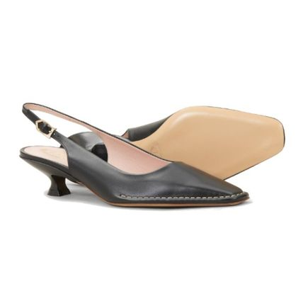 TOD'S Square Toe Casual Style Plain Leather Party Style