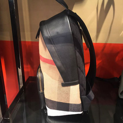 Burberry Canvas Unisex Leather Backpacks