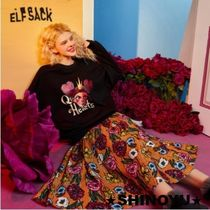ELF SACK Flared Skirts Flower Patterns Casual Style Street Style Long