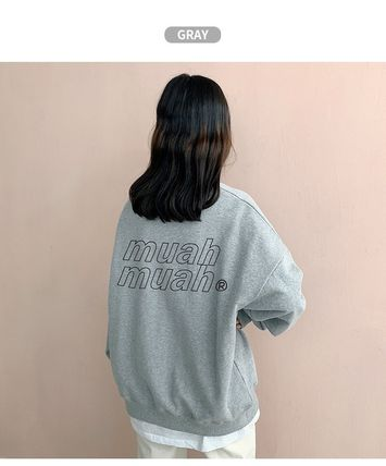 muahmuah Street Style Long Sleeves Plain Cotton Oversized Logo