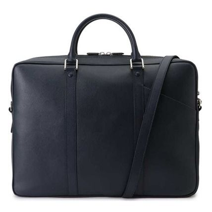 Calfskin A4 2WAY Plain Leather Logo Business & Briefcases
