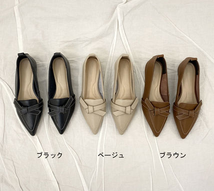Casual Style Plain Leather Office Style Pointed Toe Shoes