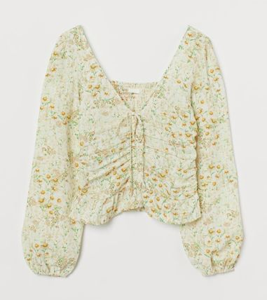 H&M Cropped Short Flower Patterns V-Neck Long Sleeves Puff Sleeves