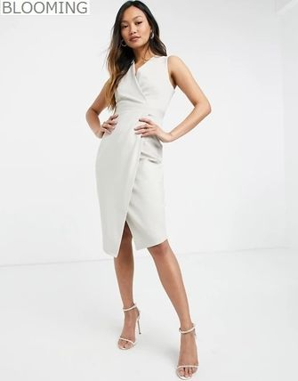 Wrap Dresses Casual Style Tight Sleeveless V-Neck Plain