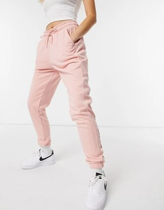 Casual Style Street Style Plain Cotton Long Logo Pants