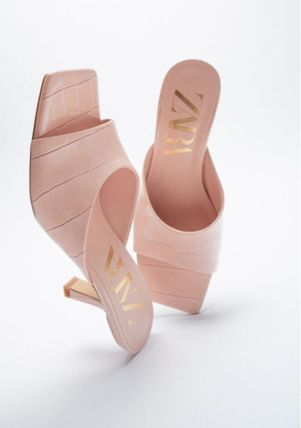 ZARA Mules Formal Style  Bridal Open Toe Square Toe Casual Style