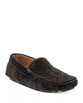 Skull Moccasin Leather Logo Loafers & Slip-ons