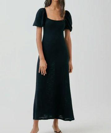 Crew Neck Casual Style Maxi Flared Street Style Plain Cotton