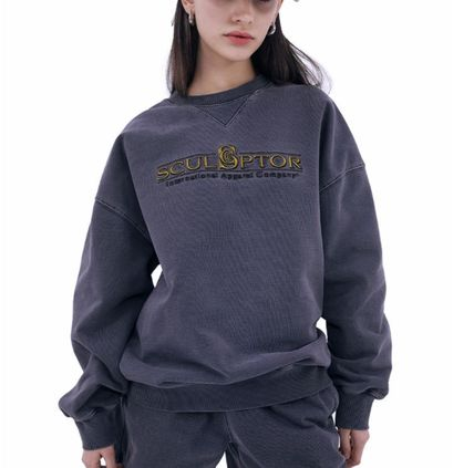 SCULPTOR Unisex Street Style Long Sleeves Plain Cotton Oversized Logo