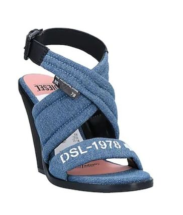 DIESEL Round Toe Rubber Sole Casual Style Logo Heeled Sandals