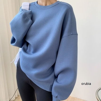 Crew Neck Cable Knit Sweat Dolman Sleeves Street Style