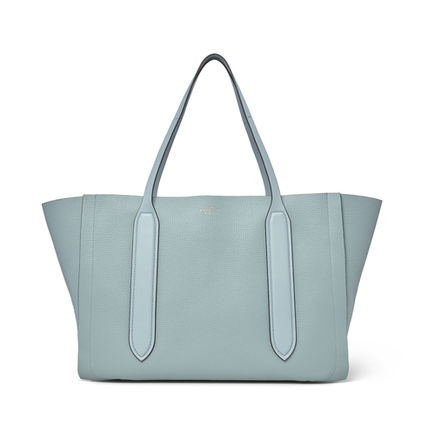 Casual Style Unisex A4 Plain Leather Office Style Logo Totes