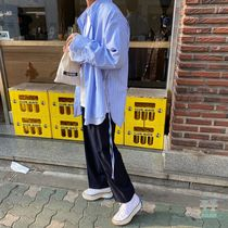 Pullovers Stripes Street Style Long Sleeves Oversized Shirts