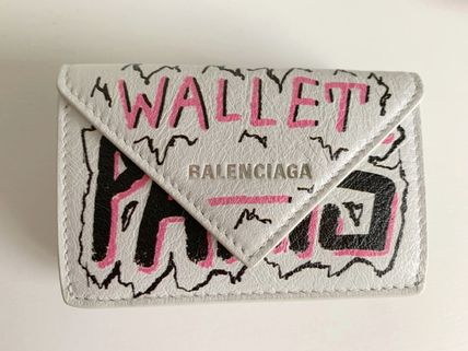 BALENCIAGA PAPIER A4 Folding Wallet Logo Unisex Leather Folding Wallets