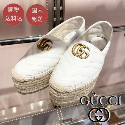GUCCI Platform Plain Toe Plain Leather Logo Slip-On Shoes