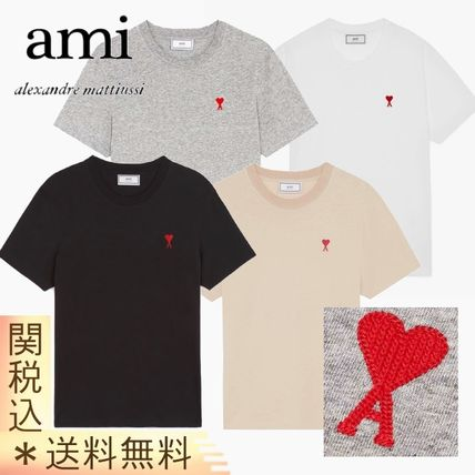 AMI ALEXANDRE MATTIUSSI Crew Neck Heart Unisex Street Style Plain Cotton Medium