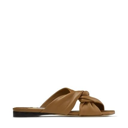 Jimmy Choo Open Toe Square Toe Casual Style Street Style Plain Leather