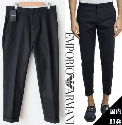 EMPORIO ARMANI Tapered Pants Plain Cotton Tapered Pants