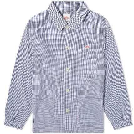 Gingham Street Style Oversized Logo Front Button Jackets