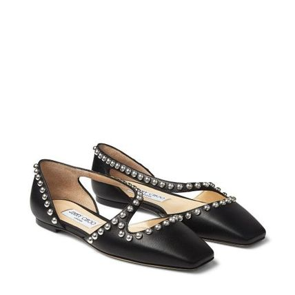 Jimmy Choo Square Toe Casual Style Studded Plain Leather Party Style
