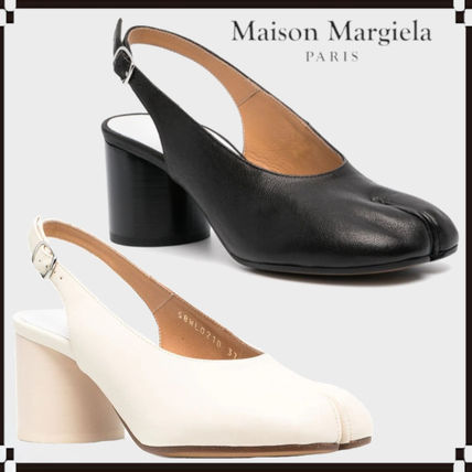 Maison Margiela Tabi Casual Style Plain Leather Block Heels Office Style