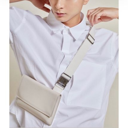 Unisex Street Style Plain Leather Small Shoulder Bag