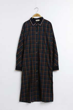 Other Plaid Patterns Casual Style Flared Long Sleeves Medium