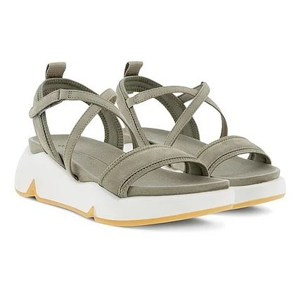 Rubber Sole Casual Style Suede Plain Leather Sandals