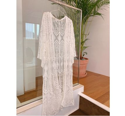 Plain Oversized Lace Up Bridal Sheer Beach Cover-Ups