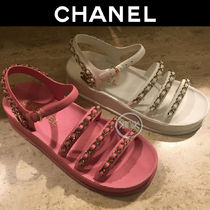 CHANEL Casual Style Chain Plain Leather Footbed Sandals Logo