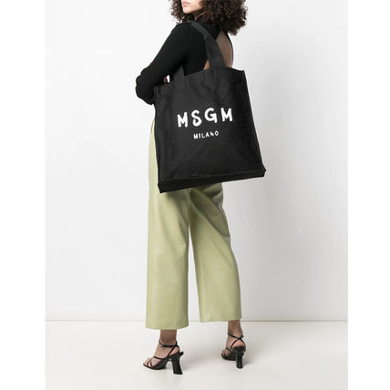 Casual Style Unisex Canvas Street Style Logo Totes