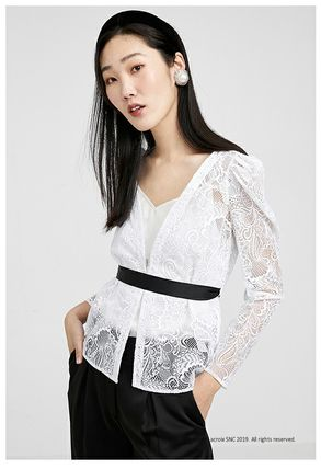 Short Long Sleeves Party Style Lace Elegant Style Co-ord