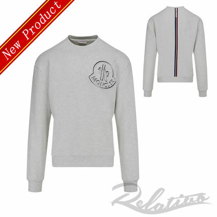 MONCLER Sweatshirts Crew Neck Pullovers Street Style Long Sleeves Cotton Logo
