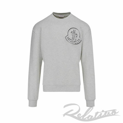 MONCLER Sweatshirts Crew Neck Pullovers Street Style Long Sleeves Cotton Logo 2