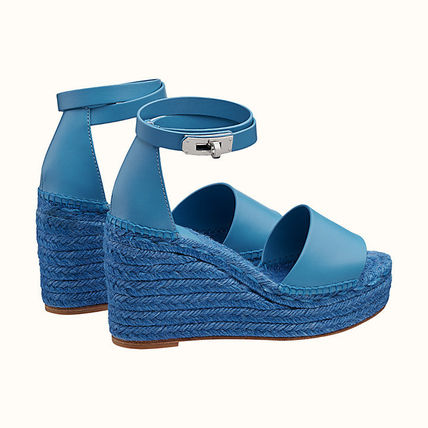 HERMES Leather Platform & Wedge Sandals
