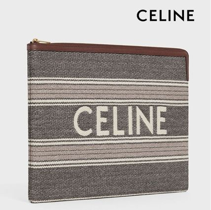 CELINE Large Pouch In Striped Jacquard And Natural Calfskin