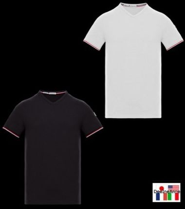 MONCLER Unisex V-Neck Cotton Short Sleeves Logo V-Neck T-Shirts