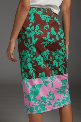 Pencil Skirts Flower Patterns Casual Style Maxi Long