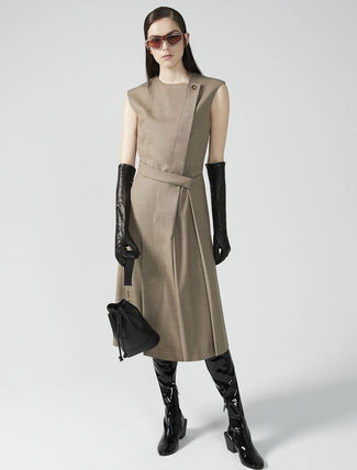Wool Sleeveless Studded Street Style V-Neck Plain Cotton