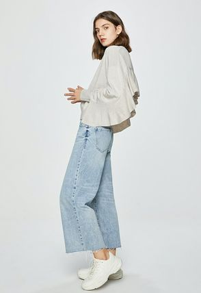 Crew Neck Short Casual Style Long Sleeves Plain Cropped