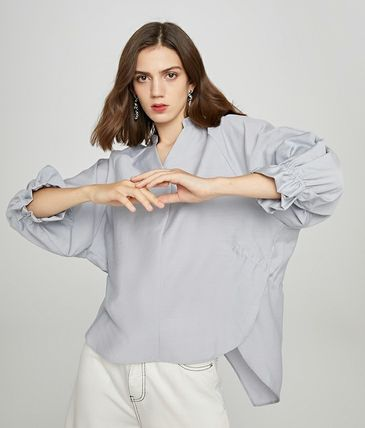 Short Casual Style Long Sleeves Plain Office Style Oversized