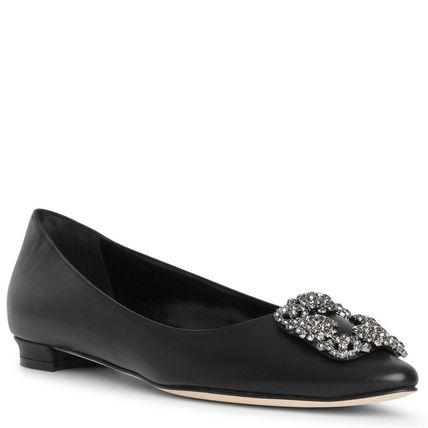 Manolo Blahnik Hangisi Plain With Jewels Elegant Style Pointed Toe Shoes