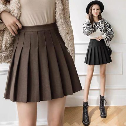 Short Pleated Skirts Plain Mini Skirts