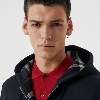 Burberry Hoodies Other Plaid Patterns Unisex Street Style Long Sleeves Plain 3