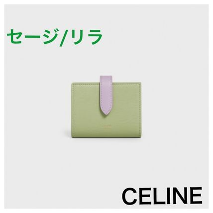 CELINE Strap Folding Wallet Logo Calfskin Plain Leather Folding Wallets